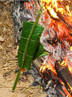 BBQ fish in banana leaves